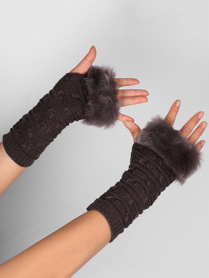Soft Fur Winter Knitted Fingerless GlovesACCESSORIES<br><br>Color: DEEP GRAY; Group: Adult; Gender: For Women; Style: Fashion; Pattern Type: Others; Material: Acrylic; Weight: 0.0400kg; Package Contents: 1 x Gloves (Pair);