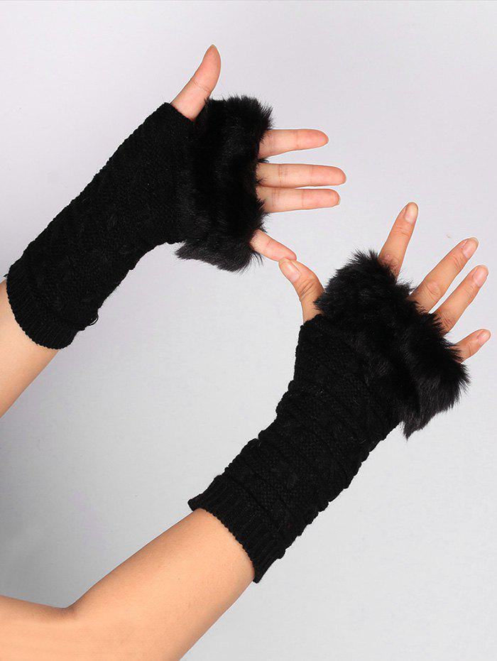 Soft Fur Winter Knitted Fingerless GlovesACCESSORIES<br><br>Color: BLACK; Group: Adult; Gender: For Women; Style: Fashion; Pattern Type: Others; Material: Acrylic; Weight: 0.0400kg; Package Contents: 1 x Gloves (Pair);