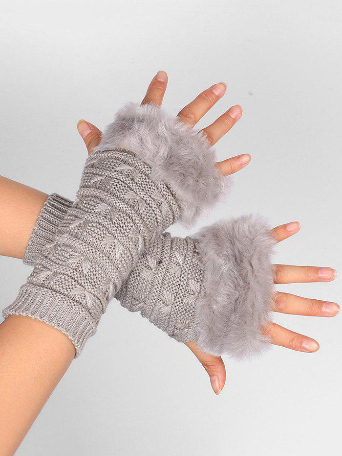 Soft Fur Winter Knitted Fingerless GlovesACCESSORIES<br><br>Color: LIGHT GRAY; Group: Adult; Gender: For Women; Style: Fashion; Pattern Type: Others; Material: Acrylic; Weight: 0.0400kg; Package Contents: 1 x Gloves (Pair);