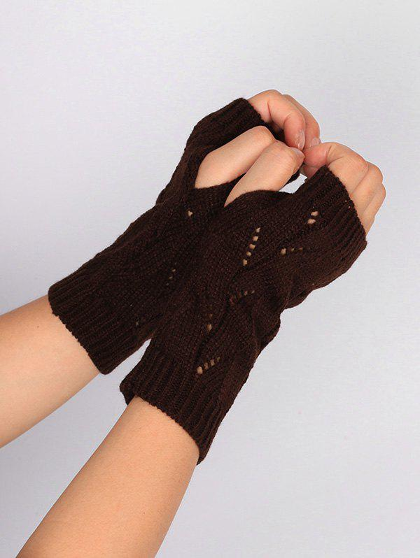 Chic Tree Branch Shape Hollow Out Knitted Fingerless Gloves