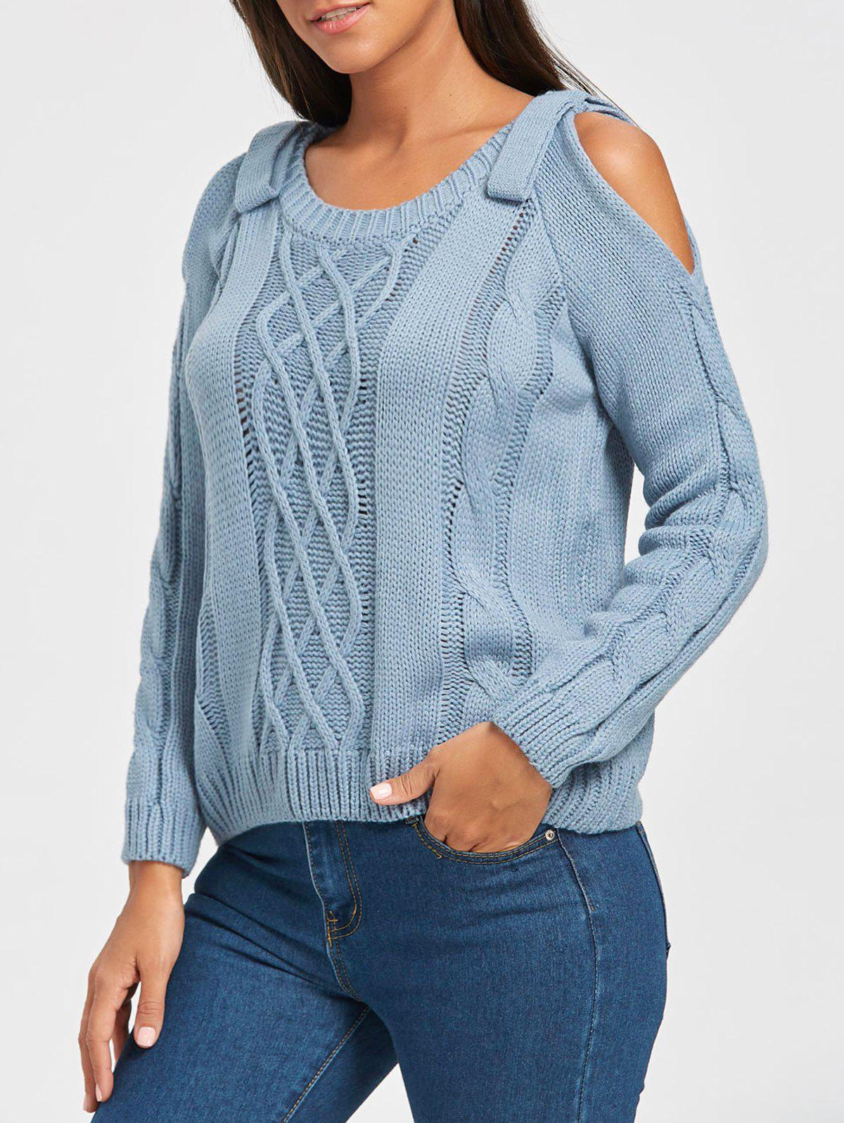 Sale Cable Knit Cold Shoulder Sweater