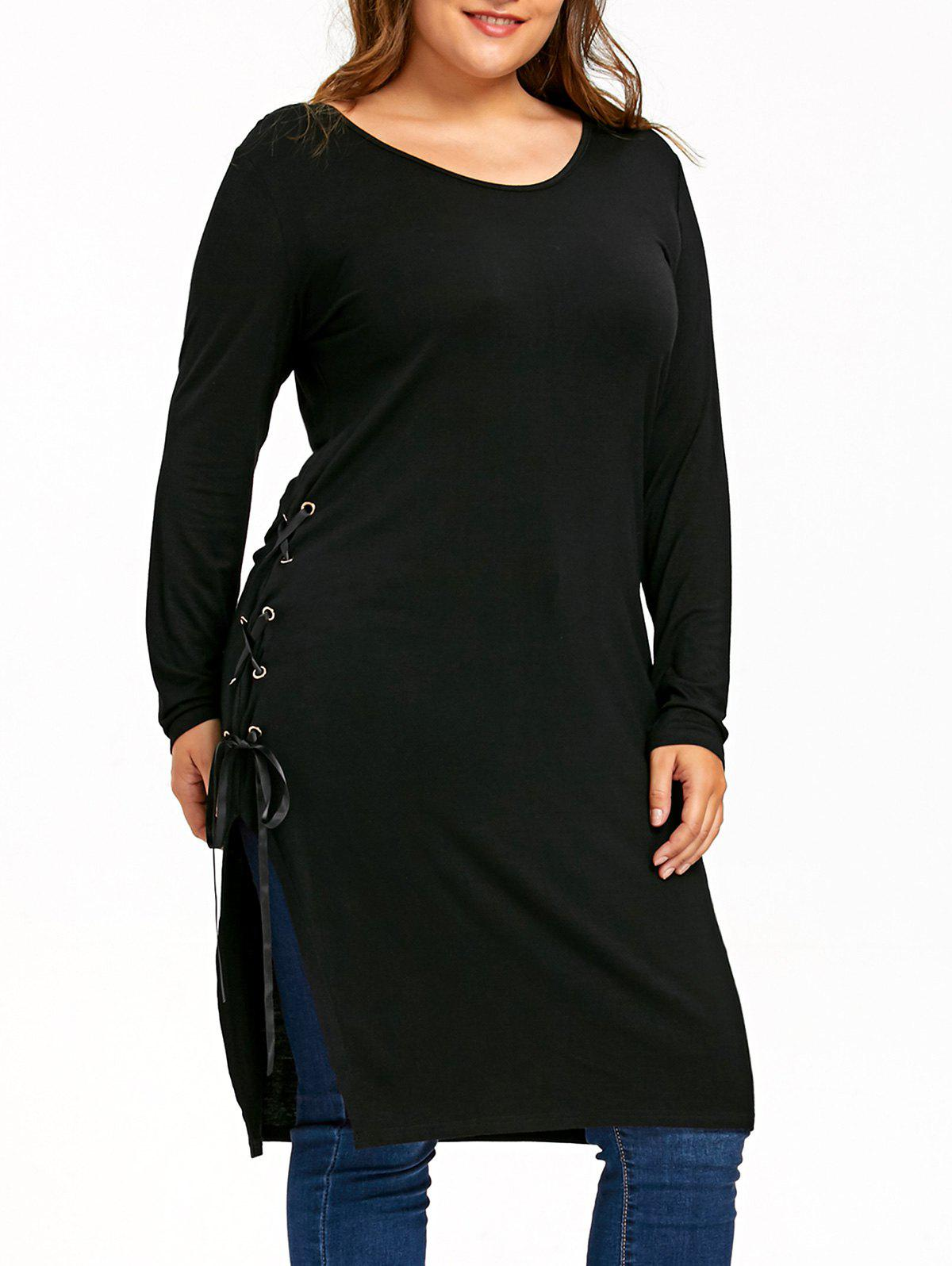 Plus Size Side Slit Lace Up Longline TopWOMEN<br><br>Size: 3XL; Color: BLACK; Material: Polyester,Spandex; Shirt Length: Long; Sleeve Length: Full; Collar: Round Neck; Style: Casual; Season: Fall,Spring; Pattern Type: Solid; Weight: 0.3500kg; Package Contents: 1 x Top;