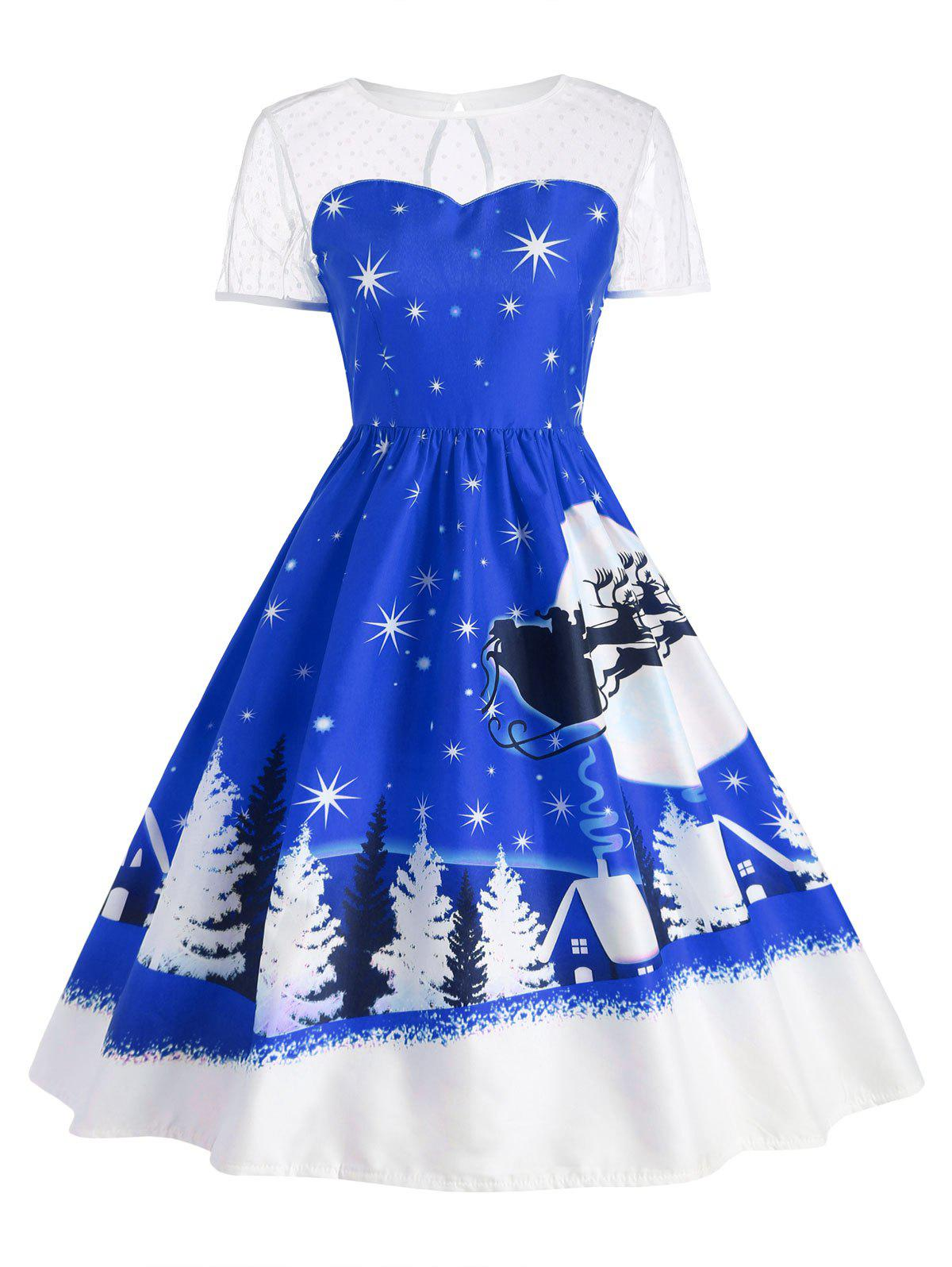 Santa Claus Deer Vintage Christmas DressWOMEN<br><br>Size: M; Color: BLUE; Style: Cute; Material: Polyester; Silhouette: Ball Gown; Dresses Length: Mid-Calf; Neckline: Round Collar; Sleeve Length: Short Sleeves; Pattern Type: Print; With Belt: No; Season: Fall,Winter; Weight: 0.2400kg; Package Contents: 1 x Dress;