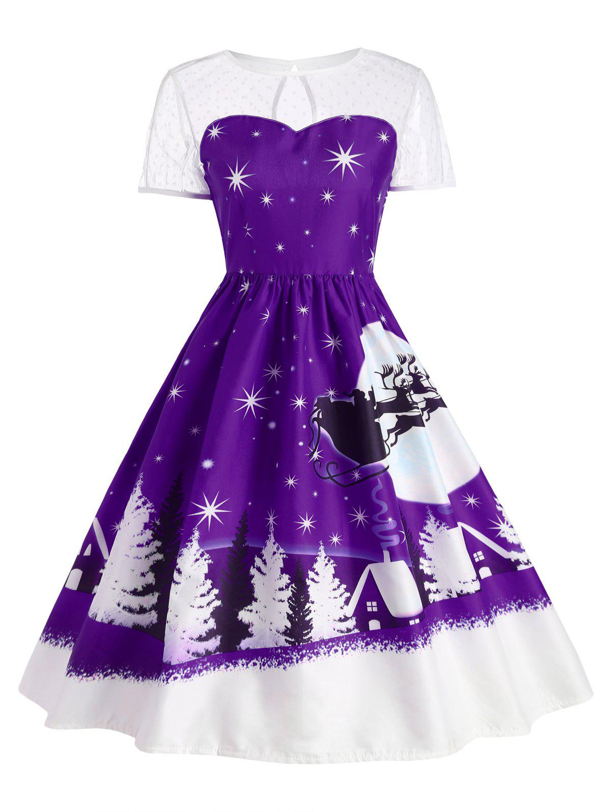 Santa Claus Deer Vintage Christmas DressWOMEN<br><br>Size: S; Color: CONCORD; Style: Cute; Material: Polyester; Silhouette: Ball Gown; Dresses Length: Mid-Calf; Neckline: Round Collar; Sleeve Length: Short Sleeves; Pattern Type: Print; With Belt: No; Season: Fall,Winter; Weight: 0.2400kg; Package Contents: 1 x Dress;