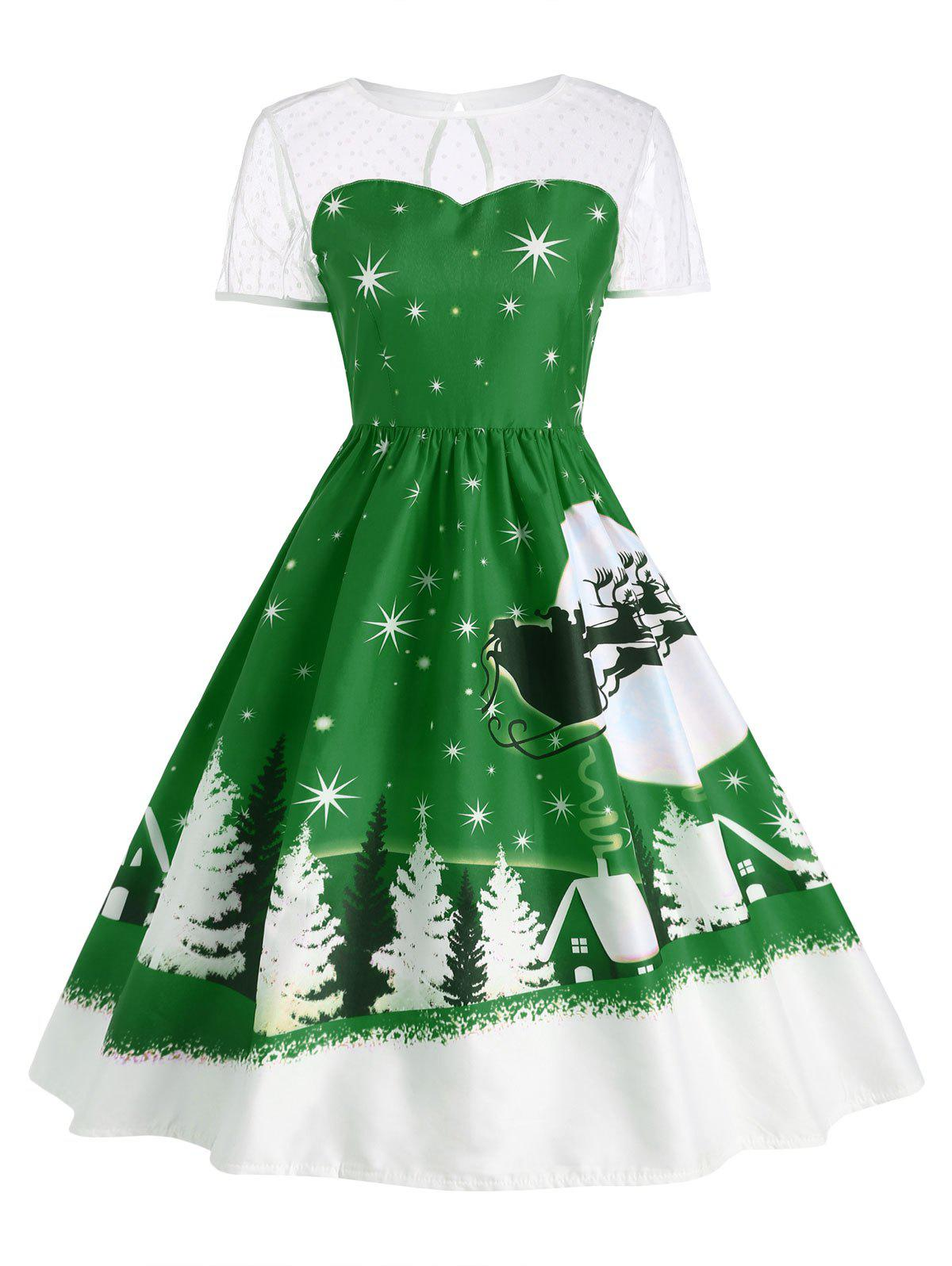 Santa Claus Deer Vintage Christmas DressWOMEN<br><br>Size: L; Color: GREEN; Style: Cute; Material: Polyester; Silhouette: Ball Gown; Dresses Length: Mid-Calf; Neckline: Round Collar; Sleeve Length: Short Sleeves; Pattern Type: Print; With Belt: No; Season: Fall,Winter; Weight: 0.2400kg; Package Contents: 1 x Dress;