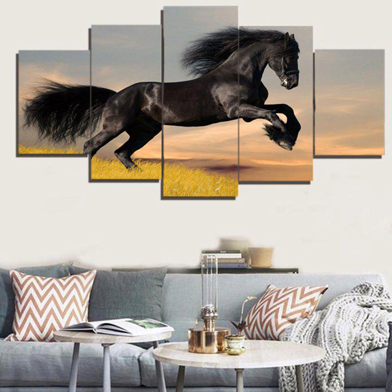Unframed Steed Print Split Canvas PaintingsHOME<br><br>Size: 1PC:8*20,2PCS:8*12,2PCS:8*16 INCH( NO FRAME ); Color: BLACK; Subjects: Animal; Product Type: Art Print; Features: Decorative; Style: Fashion,Popular; Hang In/Stick On: Bedrooms,Cafes,Hotels,Offices; Form: Five Panels; Frame: No; Material: Canvas; Package Contents: 1 x Canvas Paintings (Set);