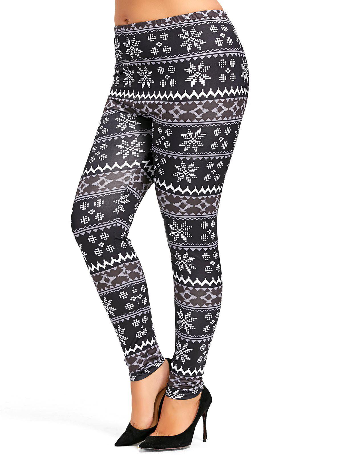 Plus Size High Waisted Snowflake Christmas LegggingsWOMEN<br><br>Size: 3XL; Color: BLACK; Style: Casual; Length: Normal; Material: Cotton,Spandex; Fit Type: Skinny; Waist Type: High; Closure Type: Elastic Waist; Front Style: Flat; Pattern Type: Others; Pant Style: Pencil Pants; With Belt: No; Weight: 0.3100kg; Package Contents: 1 x Leggings;