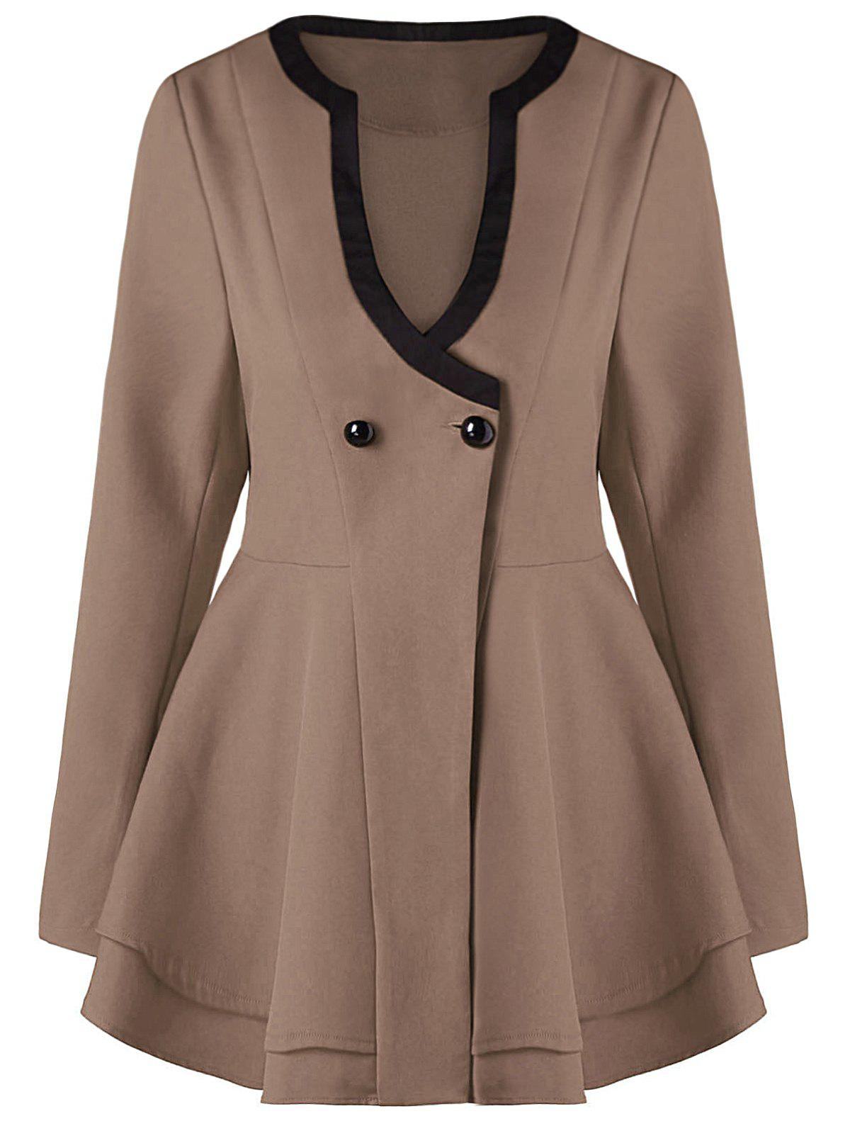 Button Fit and Flare CoatWOMEN<br><br>Size: XL; Color: KHAKI; Clothes Type: Others; Material: Polyester; Type: Skirted; Shirt Length: Regular; Sleeve Length: Full; Collar: V-Neck; Pattern Type: Others; Style: Fashion; Season: Fall,Spring; Weight: 0.4040kg; Package Contents: 1 x Coat;