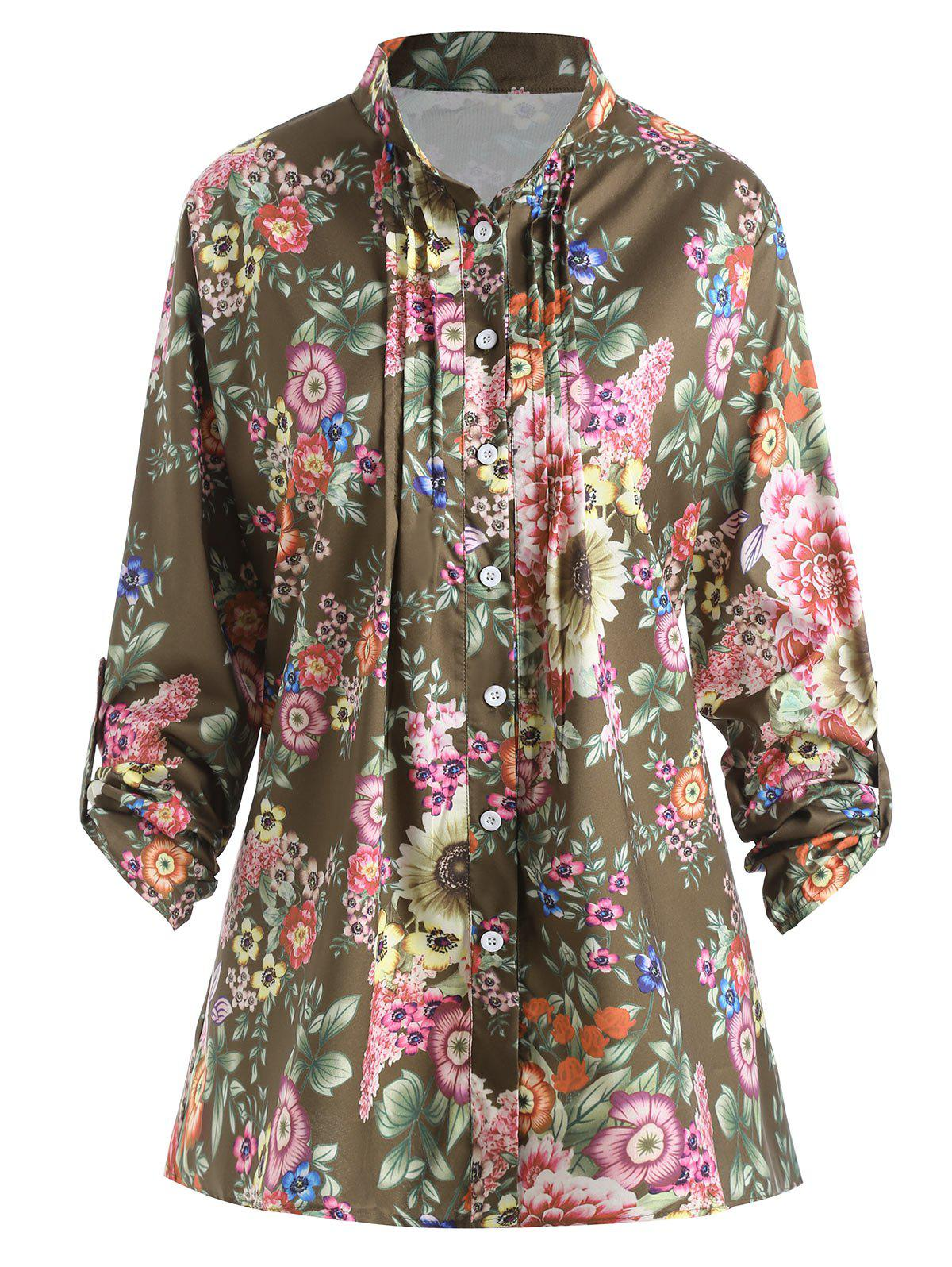 Hot Plus Size Pleated Floral Print Blouse
