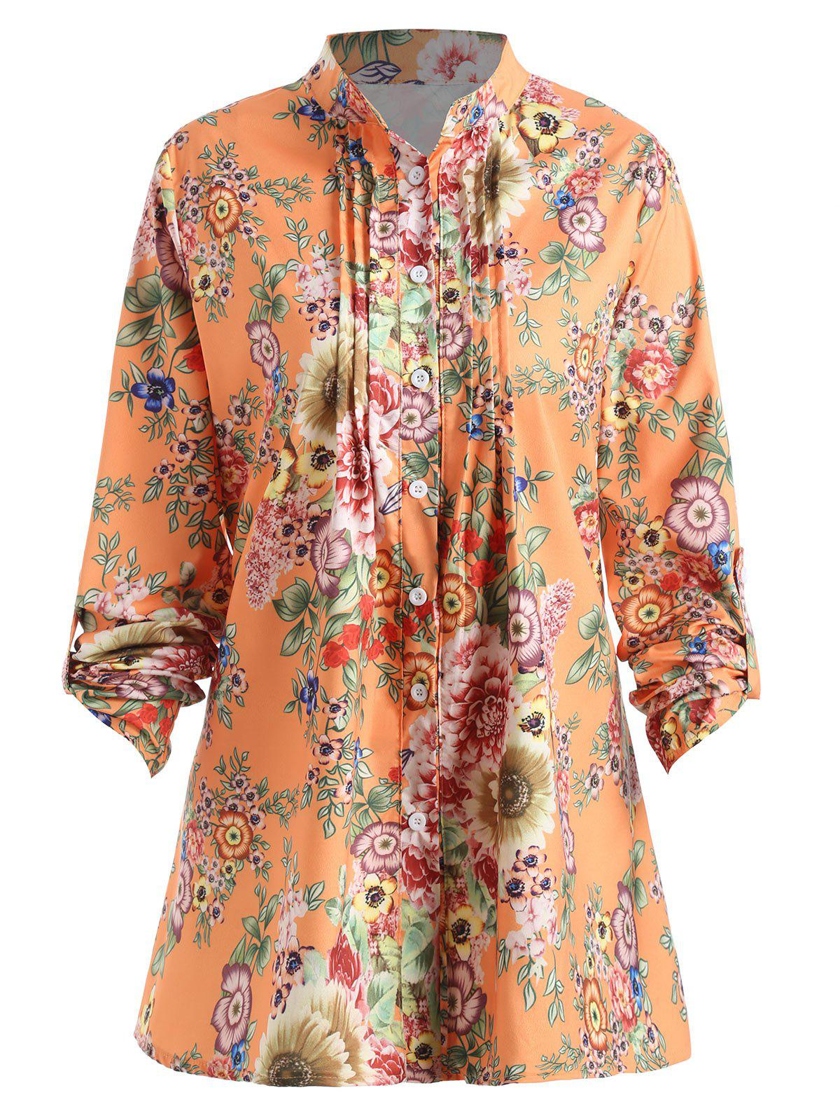 Best Plus Size Pleated Floral Print Blouse
