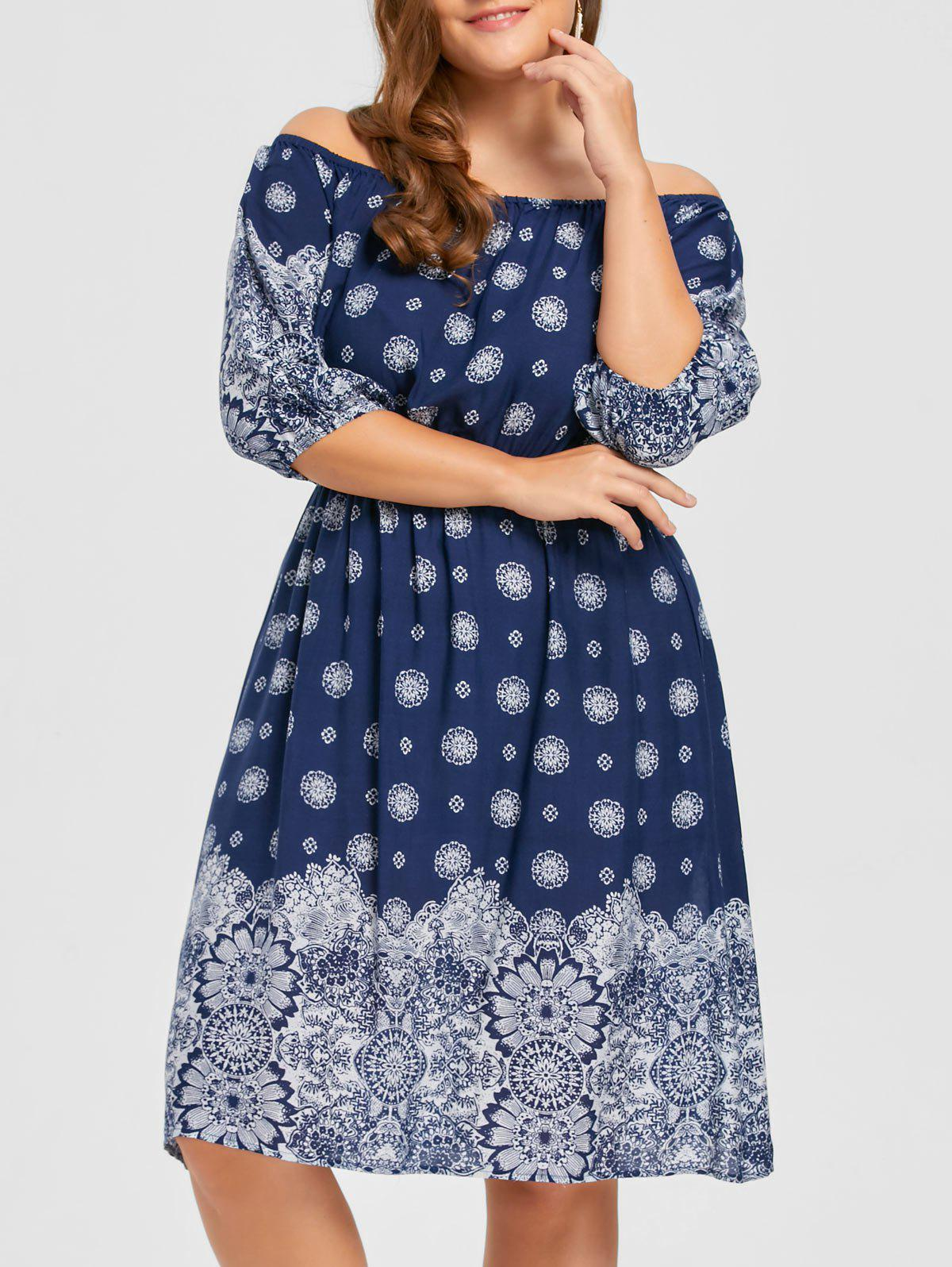 Discount Bohemian Plus Size Floral Off The Shoulder Dress