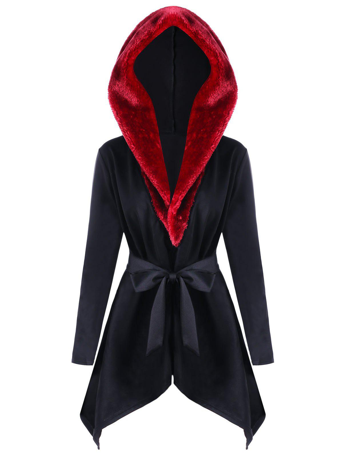 Faux Fur  Trimmed Asymmetric Hooded CoatWOMEN<br><br>Size: XL; Color: BLACK; Clothes Type: Others; Material: Polyester,Spandex; Type: Asymmetric Length; Shirt Length: Long; Sleeve Length: Full; Collar: Hooded; Pattern Type: Others; Style: Fashion; Season: Fall,Spring; With Belt: Yes; Weight: 0.5520kg; Package Contents: 1 x Coat 1 x Belt;