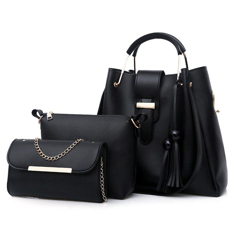3 Pieces Tassel Faux Leather Tote Bag SetSHOES &amp; BAGS<br><br>Color: BLACK; Handbag Type: Totes; Style: Fashion; Gender: For Women; Embellishment: Tassel; Pattern Type: Solid; Handbag Size: Medium(30-50cm); Closure Type: Hasp; Occasion: Versatile; Main Material: PU; Weight: 1.2000kg; Size(CM)(L*W*H): 33*14*30; Package Contents: 1 x Tote Bag, 2 x Crossbody Bags;