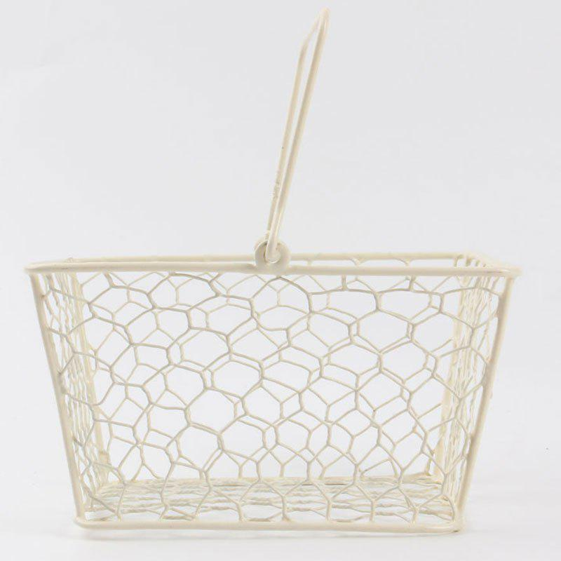 Household Portable Metal Handle Storage BasketHOME<br><br>Color: MILK WHITE; Type: Storage Baskets; Feature: Open; Material: Metal; Weight: 0.4500kg; Package Contents: 1 x Storage Basket;