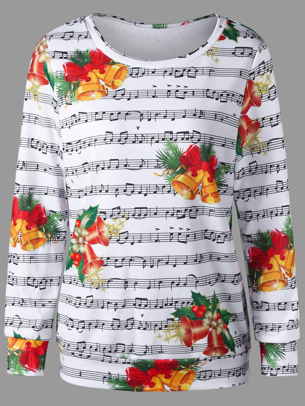 Sale Christmas Bell and Music Score Print Sweatshirt