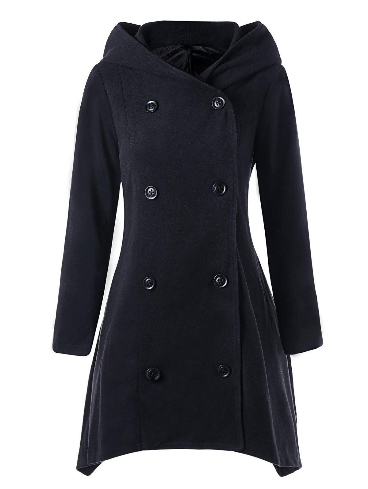 Hot Asymmetric Double Breasted Hooded Coat