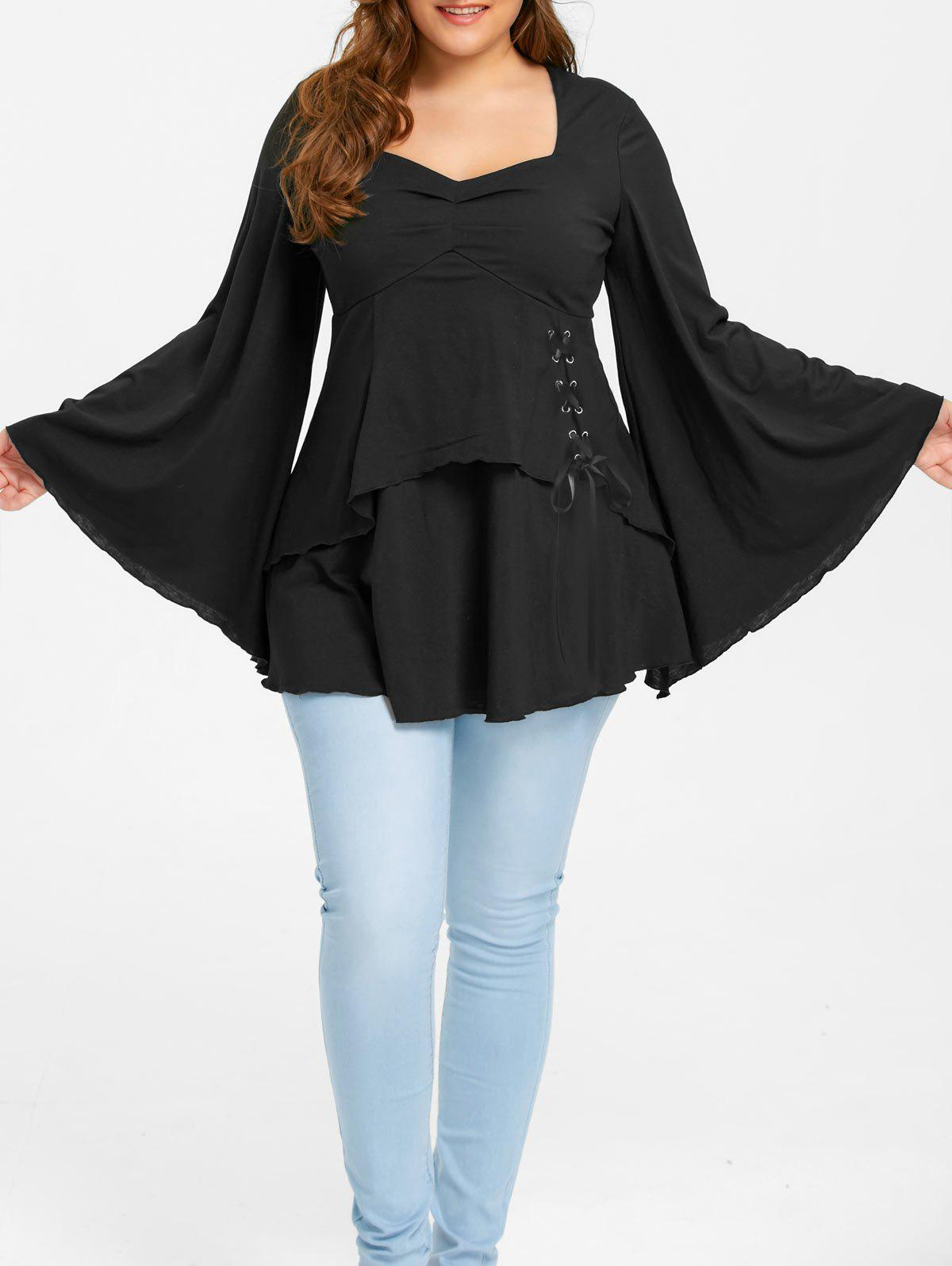 Plus Size Lace Up Flare Sleeve TopWOMEN<br><br>Size: 3XL; Color: BLACK; Material: Polyester,Spandex; Shirt Length: Long; Sleeve Length: Full; Collar: Sweetheart Neck; Style: Casual; Season: Fall,Spring; Pattern Type: Solid; Weight: 0.4400kg; Package Contents: 1 x Top;