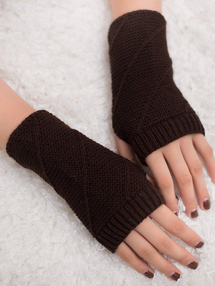 Shop Outdoor Striped Pattern Exposed Finger Knitted Gloves
