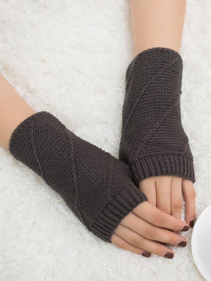 Affordable Outdoor Striped Pattern Exposed Finger Knitted Gloves