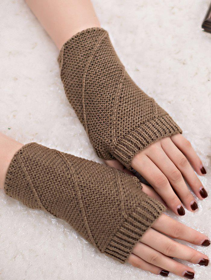 Outfits Outdoor Striped Pattern Exposed Finger Knitted Gloves