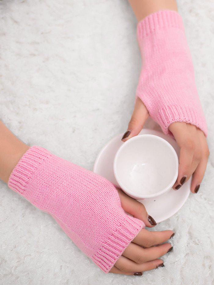 Outdoor Knit Fingerless GlovesACCESSORIES<br><br>Color: PINK; Group: Adult; Gender: For Women; Style: Fashion; Pattern Type: Others; Material: Acrylic; Weight: 0.0300kg; Package Contents: 1 x Gloves (Pair);