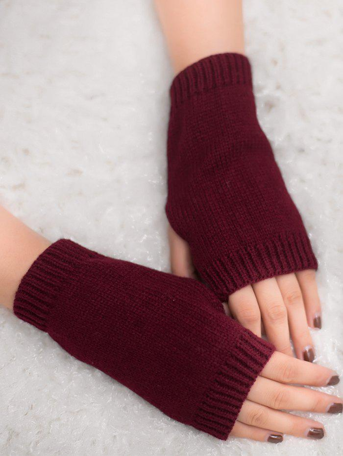 Outdoor Knit Fingerless GlovesACCESSORIES<br><br>Color: WINE RED; Group: Adult; Gender: For Women; Style: Fashion; Pattern Type: Others; Material: Acrylic; Weight: 0.0300kg; Package Contents: 1 x Gloves (Pair);