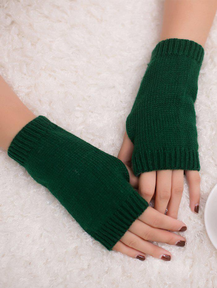 Outdoor Knit Fingerless GlovesACCESSORIES<br><br>Color: BLACKISH GREEN; Group: Adult; Gender: For Women; Style: Fashion; Pattern Type: Others; Material: Acrylic; Weight: 0.0300kg; Package Contents: 1 x Gloves (Pair);
