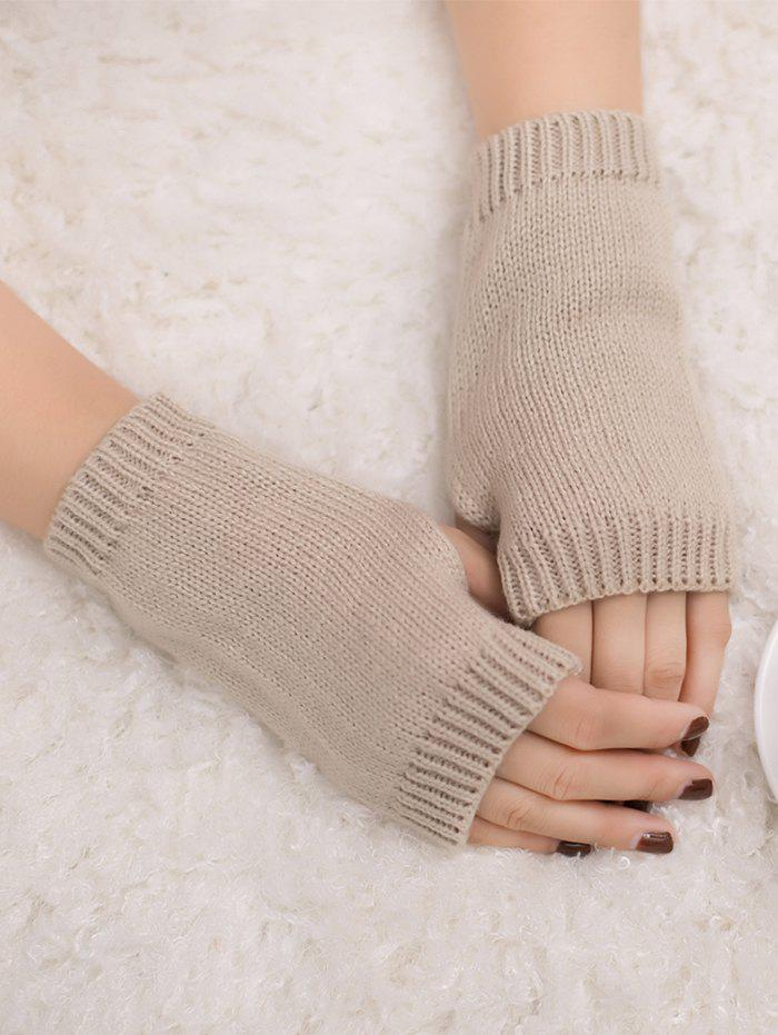 Outdoor Knit Fingerless GlovesACCESSORIES<br><br>Color: BEIGE; Group: Adult; Gender: For Women; Style: Fashion; Pattern Type: Others; Material: Acrylic; Weight: 0.0300kg; Package Contents: 1 x Gloves (Pair);