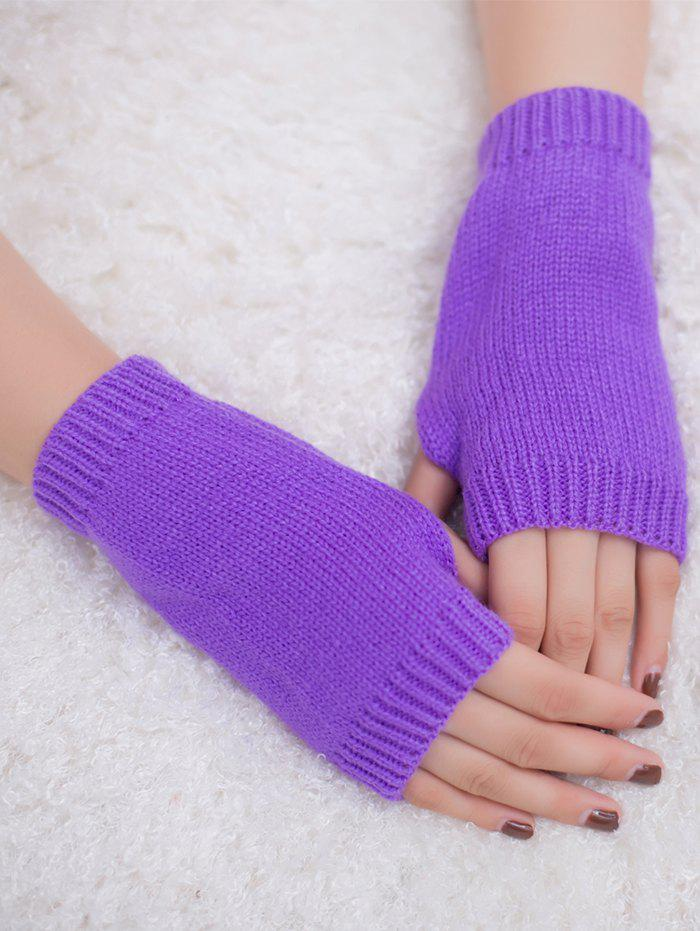 Outdoor Knit Fingerless GlovesACCESSORIES<br><br>Color: PURPLE; Group: Adult; Gender: For Women; Style: Fashion; Pattern Type: Others; Material: Acrylic; Weight: 0.0300kg; Package Contents: 1 x Gloves (Pair);