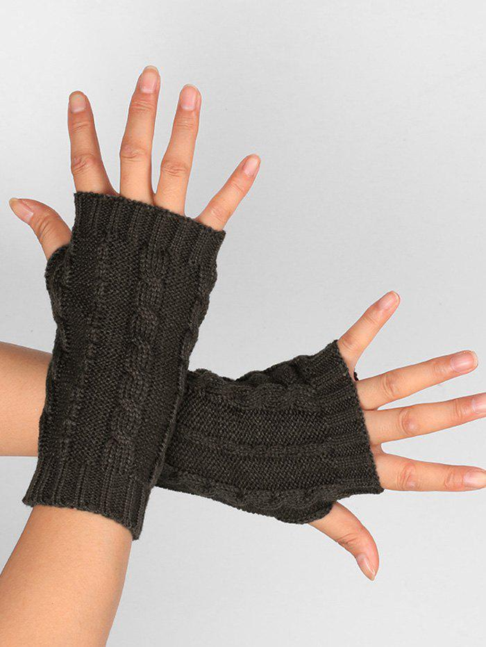 Shop Outdoor Hollow Out Embellished Knitted Exposed Finger Gloves