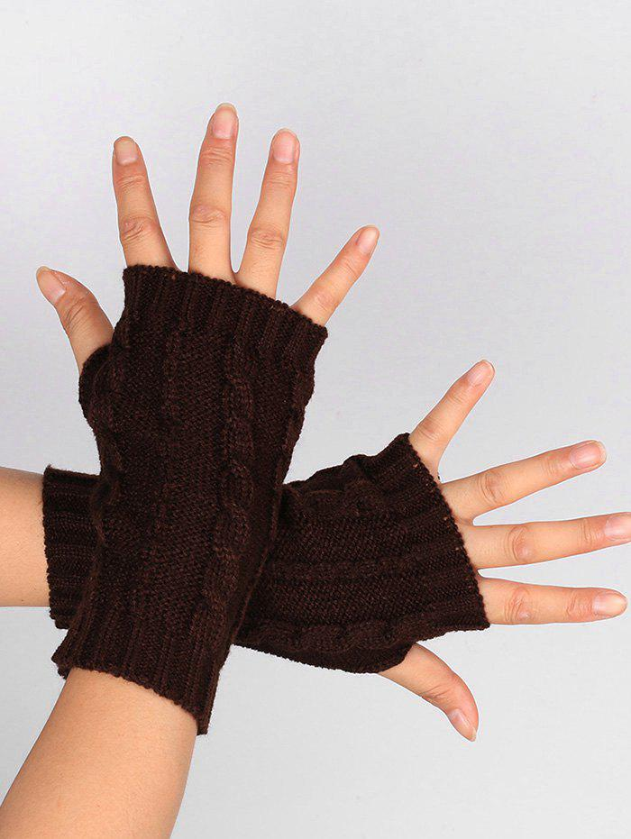Fancy Outdoor Hollow Out Embellished Knitted Exposed Finger Gloves