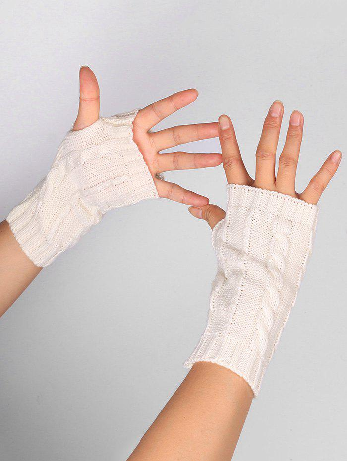 Unique Outdoor Hollow Out Embellished Knitted Exposed Finger Gloves