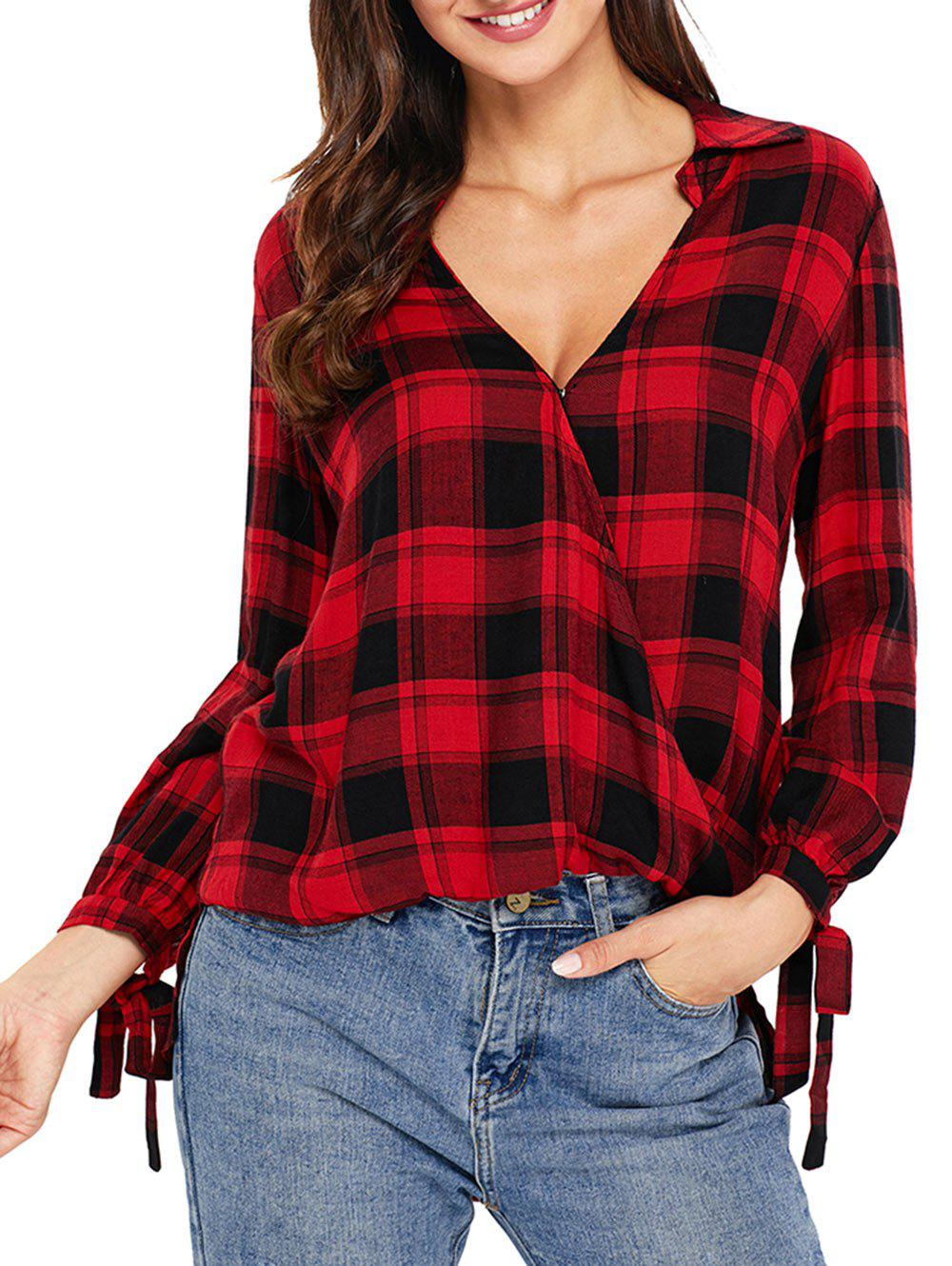 Chic V Neck Plaid High Low Blouse