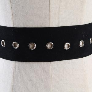 Metal Round Buckle Decorated Suede Waist Belt -