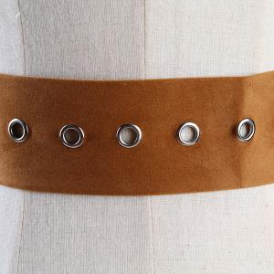 Metal Round Buckle Decorated Suede Waist Belt - LIGHT BROWN