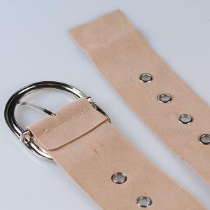 Metal Round Buckle Decorated Suede Waist Belt - KHAKI