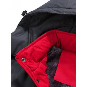 Two Tone Zip Up Flocking Ski Jacket - RED 5XL