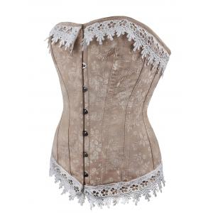 Jacquard Lace Up Waist Training Corset - COFFEE S