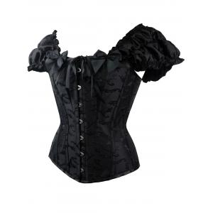 Jacquard Lace Up Steel Boned Corset Vest - BLACK S