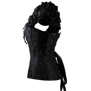 Jacquard Lace Up Steel Boned Corset Vest -