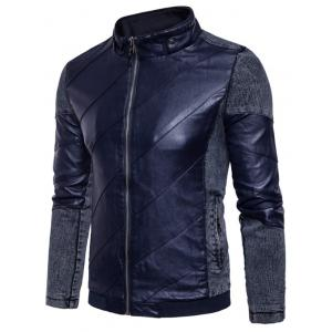 Zip Up Faux Leather Insert Jacket -