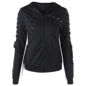 Zipper Up Lace Up Hoodie - BLACK XL