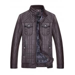 Grid Check Quited Faux Leather Jacket - COFFEE 3XL