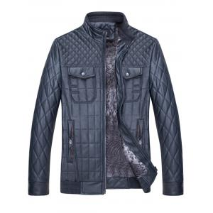 Grid Check Quited Faux Leather Jacket - BLUE 3XL
