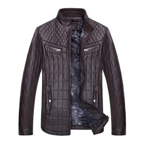 Checked Grid Quilted Faux Leather Jacket - COFFEE 3XL