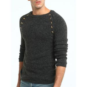 Raglan Sleeve Button Embellished Sweater - DEEP GRAY L
