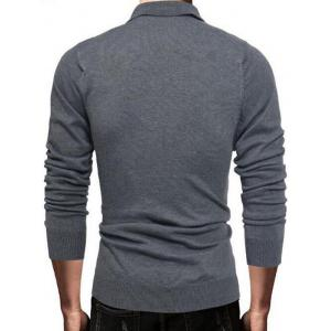 Half Button Long Sleeve Polo Sweater - DEEP GRAY L