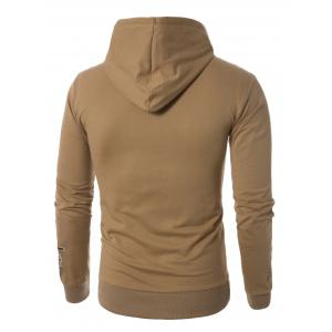 Graphic Embroidered Pocket Pullover Hoodie - KHAKI M