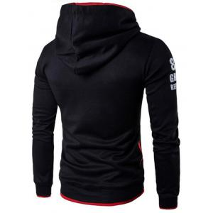Pockets Graphic Printed Pullover Hoodie - BLACK L