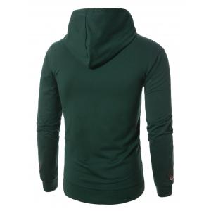 Graphic Embroidered Pocket Pullover Hoodie - GREEN M